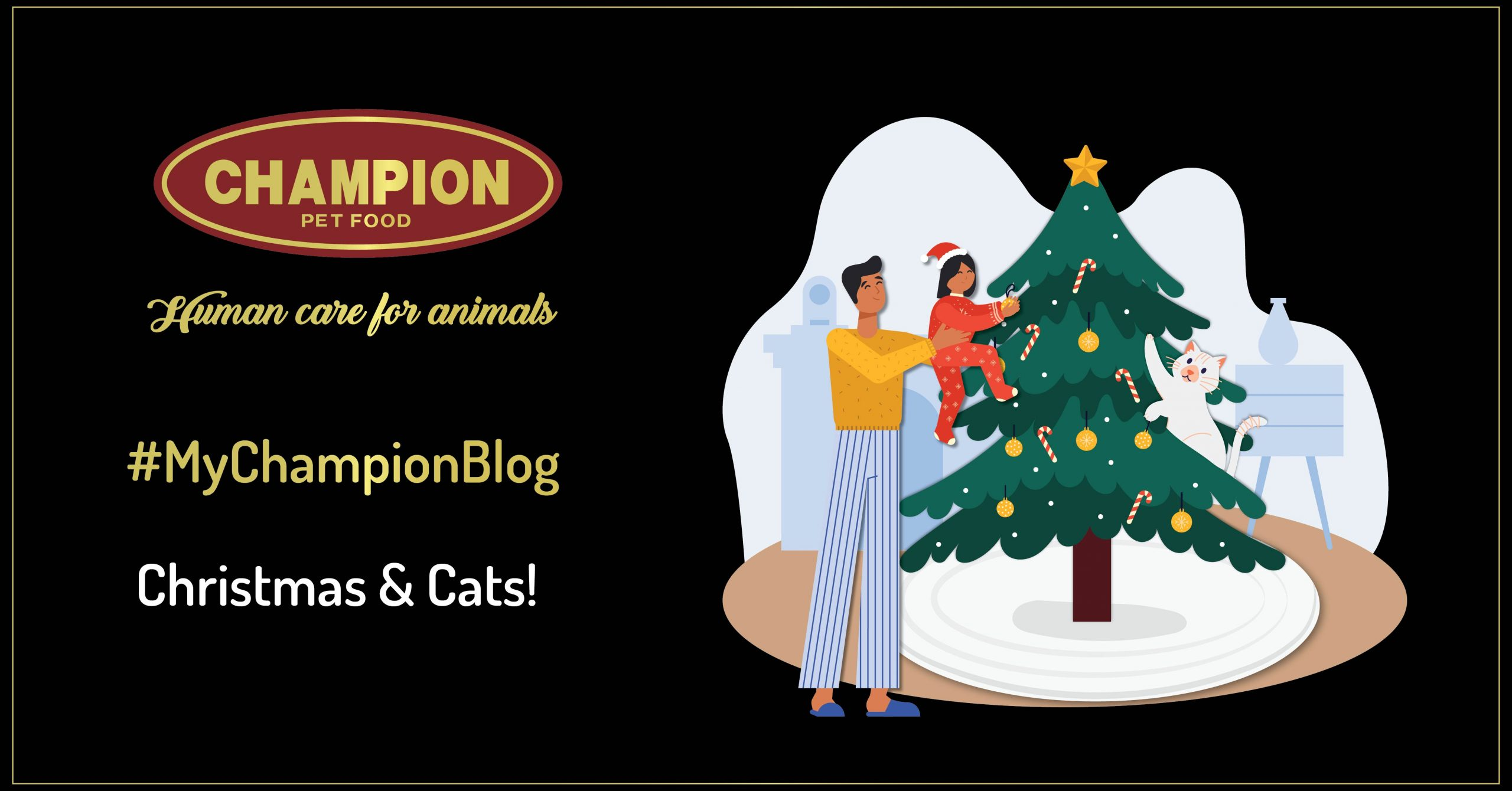 illustration witha kid and a cat near the christmas tree