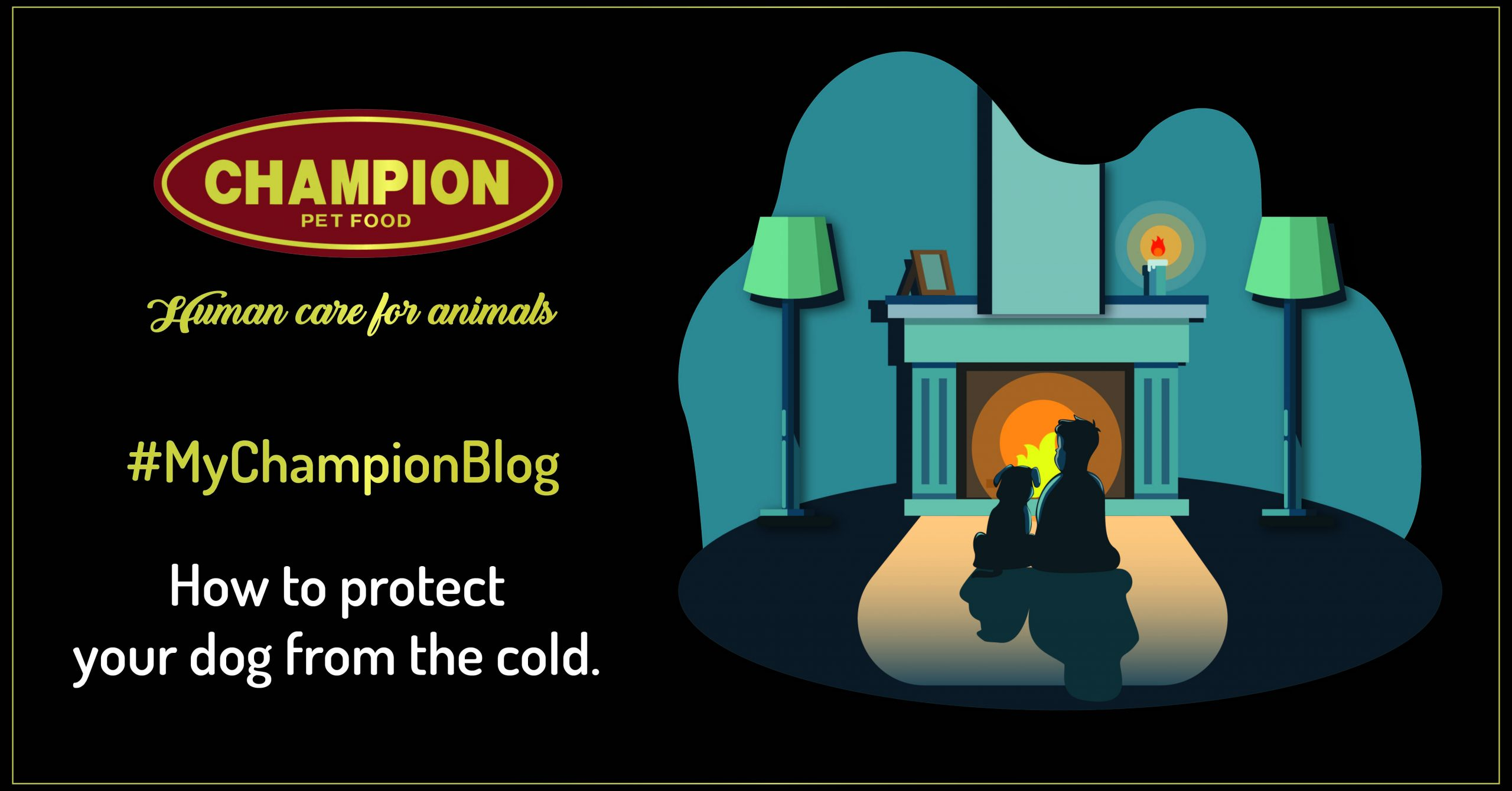 illustration with a kid and a dog in front of the fireplace